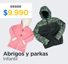 ABRIGOS Y PARKAS  INFANTILES DESDE $9.990