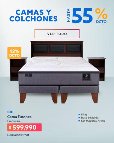 CAMAS Y COLCHONES HASTA 55% DCTO en hites.com