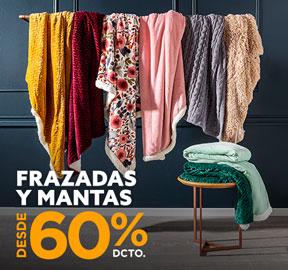 FRAZADAS Y MANTAS DESDE 60% DCTO