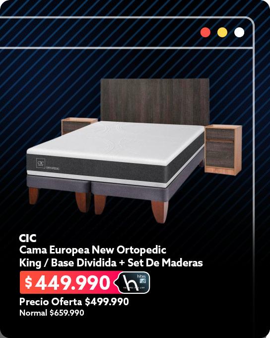 Cama Europea New Ortopedic / King / Base Dividida + Set De Maderas