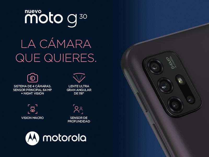 smartphone moto G30, Sistema de 4 cámaras. PRINCIPAL de 64 MP